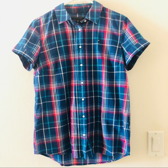 d32ac6f7 Tops | Tommy Hilfiger Plaid Check Shirt With Short Sleeve | Poshmark